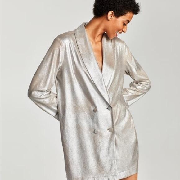 7602cf6e Zara Jackets & Coats   Metallic Faux Suede Jacket   Poshmark